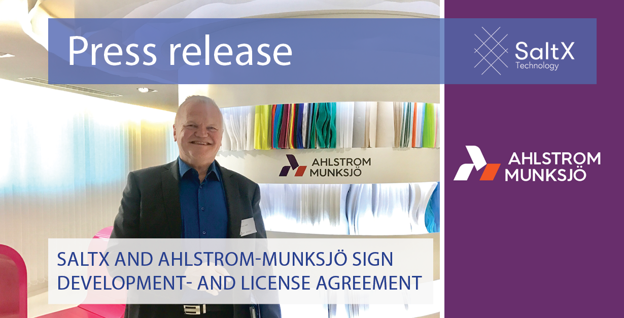 Saltx And Ahlstrom Munksj Sign Development And License Agreement