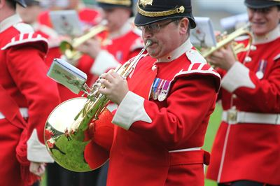 The Yorkshire Volunteers Band performing in the Main Ring at the Great Yorkshire Show 2012