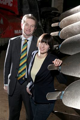 Photo shows Nigel Pulling, Chief Executive of the Yorkshire Agricultural Society and Tamara Hall, who has been awarded the Society's Nuffield Scholarship for 2012/2013