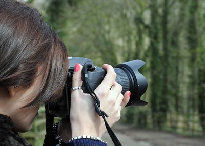 Snapping the Snapper..... Amateur photographer Eliza Mallender of Stamford Bridge capturing a woodland scene