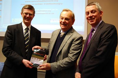 Left to right, Harper Adams Vice-Chancellor Dr David Llewellyn, Sir Gordon Conway and Deputy Vice-Chancellor Professor Peter Mills