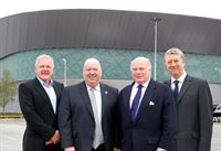 Pictured at Kings Dock, the site for Exhibition Centre Liverpool (from L-R) Bob Prattey, chief executive of ACC Liverpool, Joe Anderson Mayor of Liverpool, David McDonnell, Chairman of ACC Liverpool a