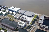Aerial visualisation of the Kings Dock area