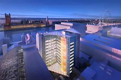 Visualisation of the re-clad East Wing building on the St Thomas' Hospital site