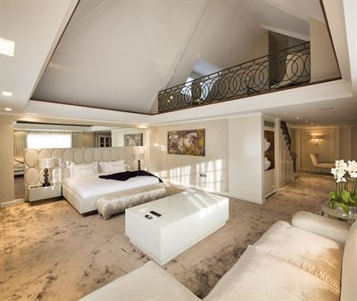 Sumptuous master bedroom suite with mezzanine level