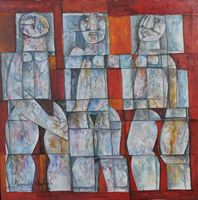 Farrukh Shahab Females in Cubic Form 2012 Oil on Canvas 25 x 25 inches