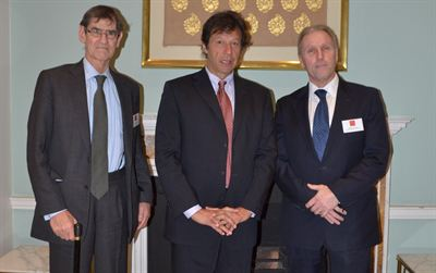 L-R Sir John Boyd Imran Khan and Michael Lawrence