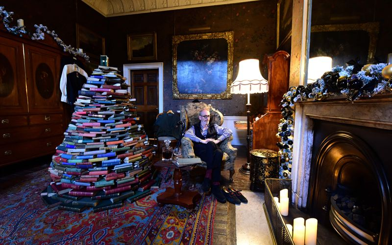 Exceptional The Hon Nicholas Howard In The Castle Howard Dressing Room With A Christmas  Tree Made Entirely From Books