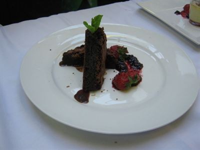 Winning dessert: chocolate brownie, chocolate sauce and wild strawberry puree