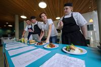 with Ash Mair: Cucina Academy student Dom Turner and Cucina chefs Ian Fellowes and Suzy Vousden