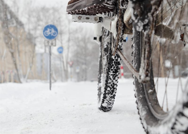 Cykel på vinterväg