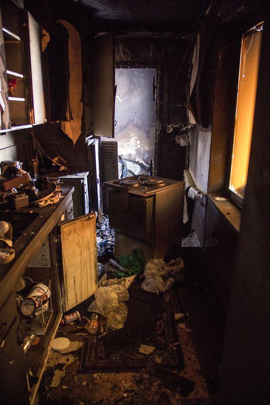 Brandskadat kök