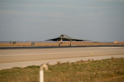 The NEURON European UCAV technology demonstrator landing at Istres after a successful maiden flight
