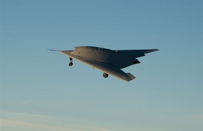 The NEURON European UCAV technology demonstrator taking off at the Dassault Aviation Istres Flight Test center (France).
