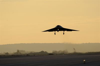 The NEURON European UCAV technology demonstrator taking off at the Dassault Aviation Istres Flight Test center (France)