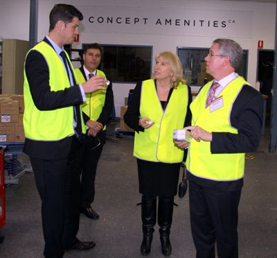 Michael Matulick CEO Concept Amenities with Australian Government Officials
