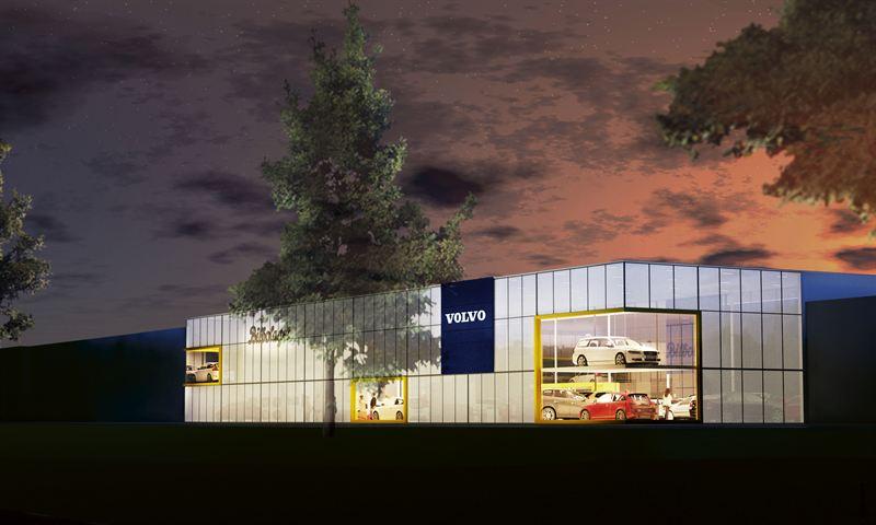 Lysande bilhall i glas – nytt landmärke i Umeå. Illustration Johnels & Moberg Arkitekter