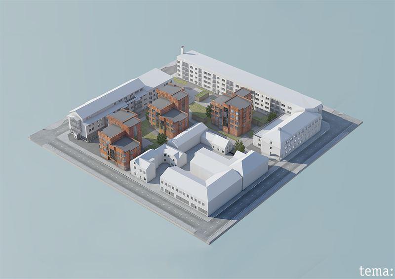 NCC förtätar Skellefteå på uppdrag av Skebo. Illustration Tema arkitekter