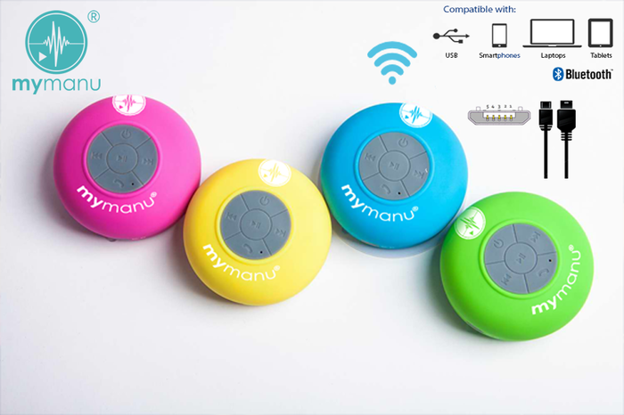 ... speakers from Mymanu™ is set to shake up the concept of listening to music in the bathroom, abolishing the need for an old fashioned shower radio .
