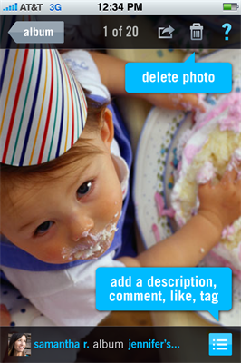 Screenshot of new photo sharing service