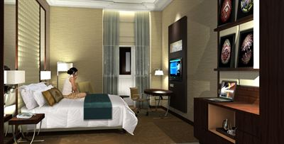 A computer generated image of a guest room at Renaissance Hotel Kiev
