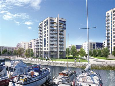 A CGI of Marina Heights at Victory Pier in Gillingham by Berkeley Telephone 01634 565000