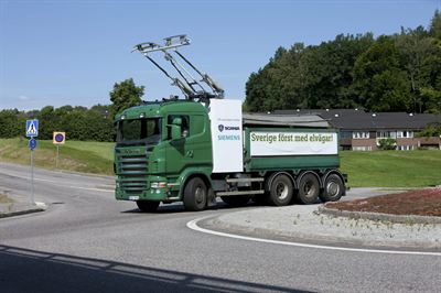Scania truck with a pantograph on the roof