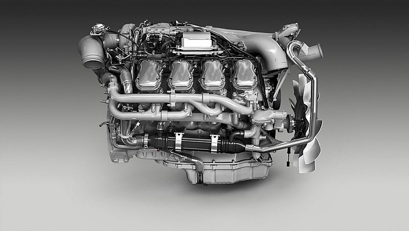 Scania 16-litre V8 580 hp Euro 6 engine with EGR and SCR.