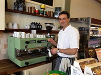 Ivan Pendaroski of Fresh with his green Gaggia