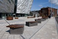 The CT Blocks protect the building whilst providing seating for visitors
