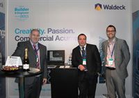 Manning the Waldeck Engineering stand at Ecobuild 2012 are Scott Foster, M&E and Sustainability Manager; Tony Chapman, Head of Developer Services and Nathan Bradford, Regional Manager, London
