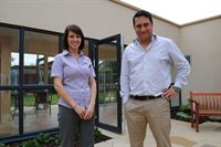 Pictured in the enclosed garden at Balmoral House is Manager Kirsty Sutton and Managing Director of Kapil Care Homes Sunil Kapil