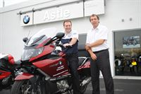 Pictured is Astle BMW Motorrad Manager Nick Sellers left with new Service Advisor Terry Skelton