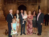 Pictured is Maya's sisiter Ixchel six, Jared Hodgson, Amy Barwick, Paul Hodgson, Maya Hodgson, Lindsay Hodgson and Gwen & Chris Fennel at the baptism at Gloucester Cathedral