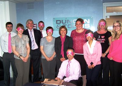 Pictured are staff from the Skegness office of Chartered Accountants and Business Advisers Duncan & Toplis wearing pink outfits to raise money for Breast Cancer Campaign.