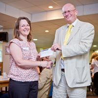 St Barnabas Hospice was one of the charities to receive a cheque from Lincoln Business Club in 2012. Pictured is Rachael Hewitt from St Barnabas Hospice & Lincoln Business Club Chairman Richard Hare