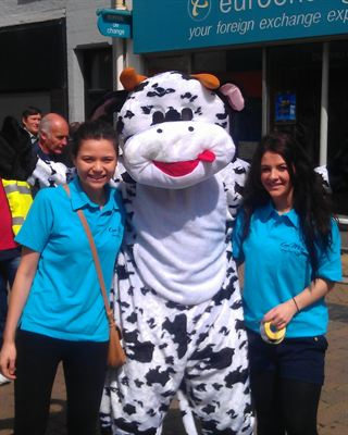Amoolia the cow with the Cool Milk team