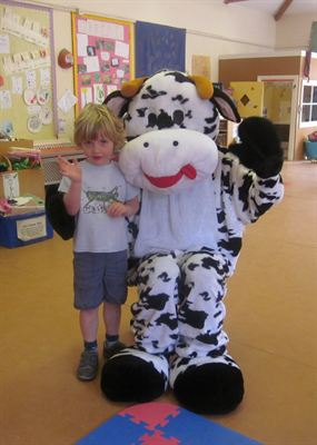 Children at Patacake Day nursery were visited by Amoolia the Cool Milk cow after winning a competition during Healthy Body, Happy Me week.