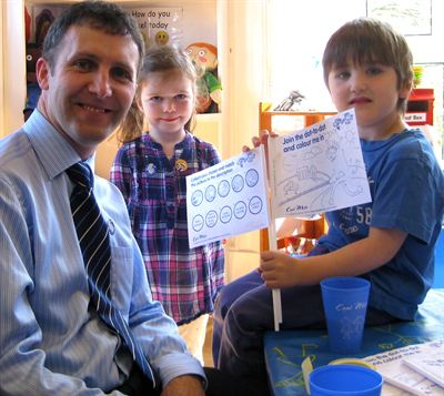 MSP for Falkirk West Michael Matheson visited Wellside Kindergarten on Friday to act as milk monitor for the day