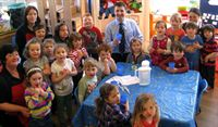 MSP for Falkirk West Michael Matheson celebrated the free nursery milk scheme with children at Wellside Kindergarten on Friday