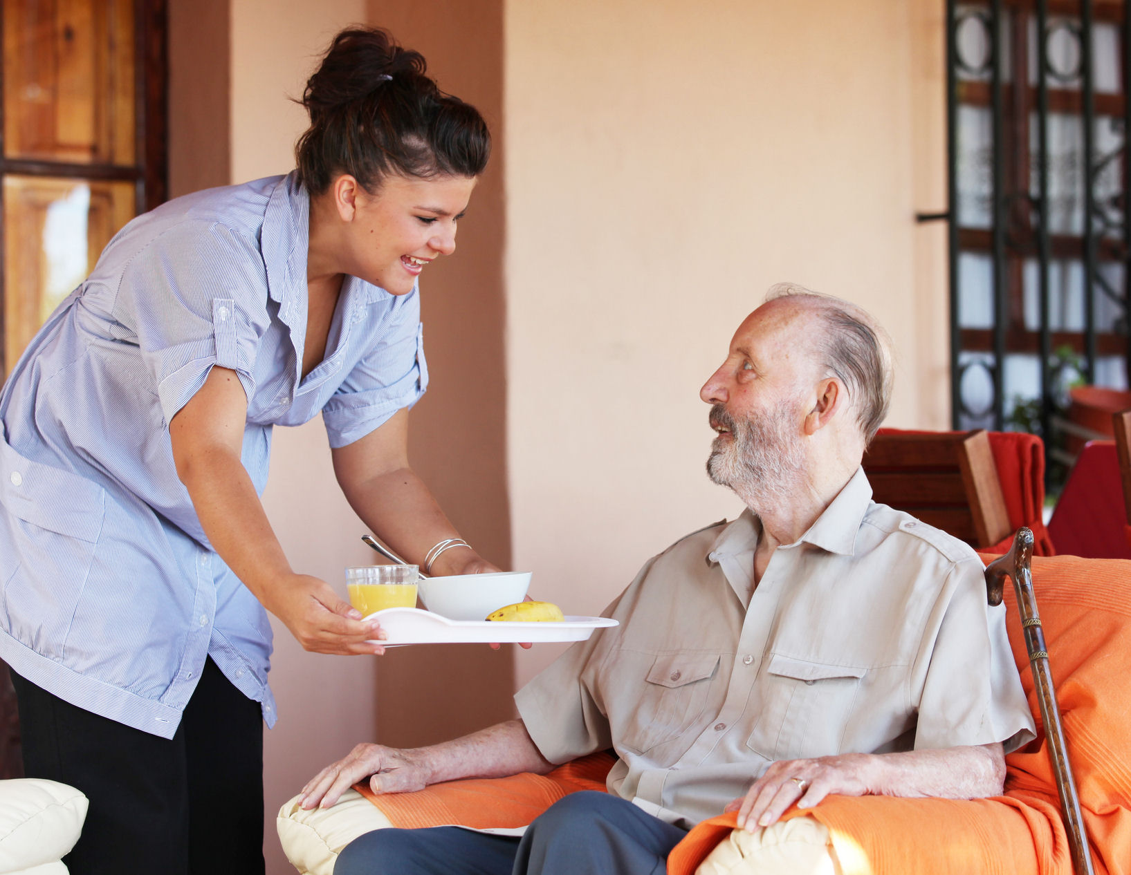 Care Worker With Elderly Man Next Step Marketing