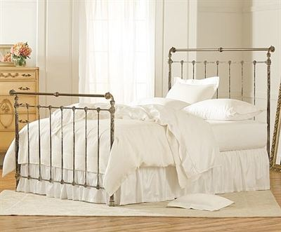 Iron and Brass Sleigh Bed