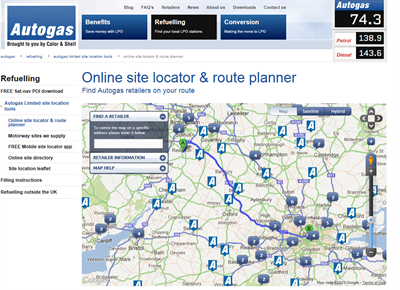 Autogas Site Locator Screen Shot