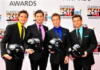 Blake take to the red carpet at the Classical Brit Awards having arrived on motorbikes
