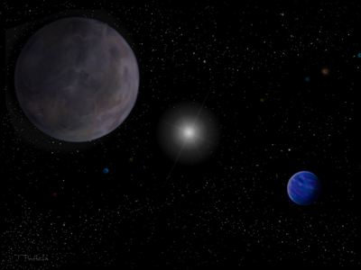 An artist's conception of the planetary system around HD10180.
