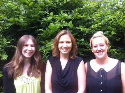 Photo Caption: Dr Liz Kirk (centre) with her new research assistants Emily Stears (left) and Lisa Wheatley (right)