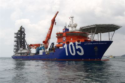 The fast-transit, dynamically positioned (DP2) McDermott vessel Lay Vessel North Ocean 105 has an advanced reeled system capable of rigid and flexible pipelay in up to 10,000 feet of water.