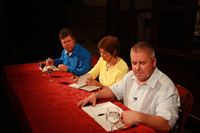 Judges L to R Evan Lunde, Rita Held , Chef Michael Gilligan