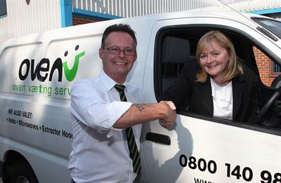 Rik Hellewell, OvenU Franchise Owner with Linda Cook Marketing Director Acceptacard Limited