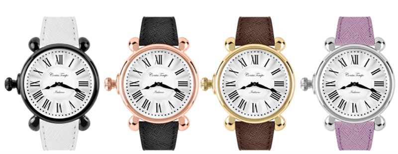Conta Tempo watches are exquisite in design, with refined details in dials, straps and shape they embody a mix of avant-garde trends with a vintage look.